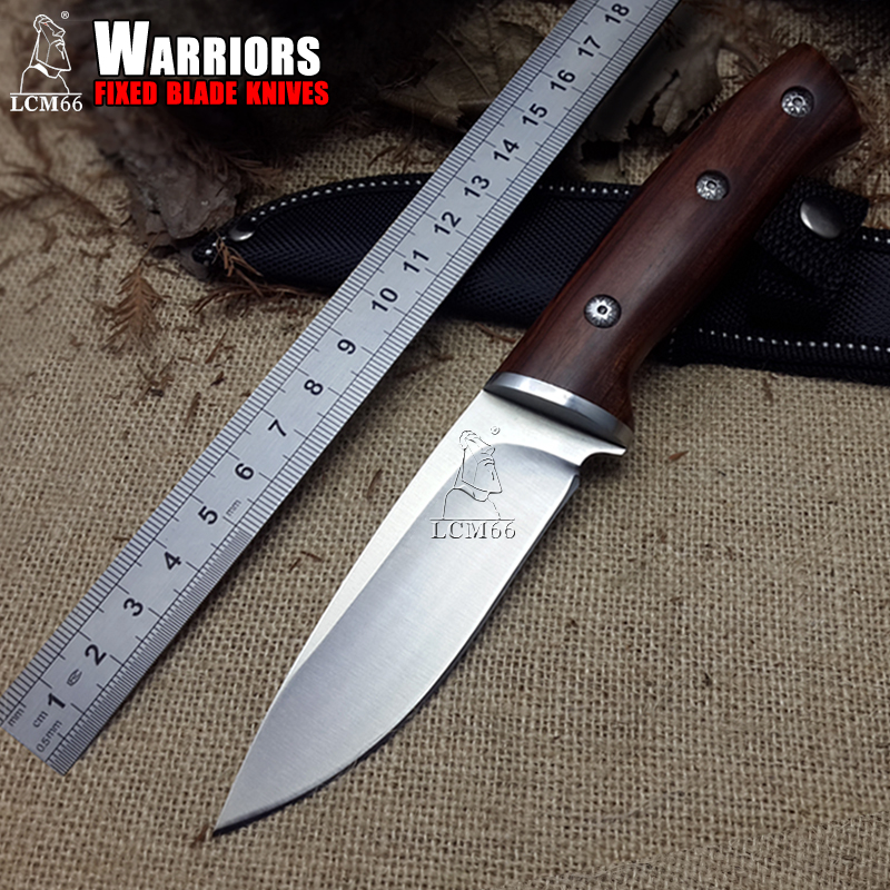 Fishing Accessories LCM66  hunting straight knife tactical knifeFixed Knives,steel head+solid wood handle Survival Knife,Camping Rescue Knife tools