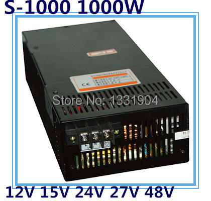 LED single phase output switching power supply S-1000,1000W AC input, output voltage 12V, 15V, 24V, 27V, 48V.. transformer 1200w 48v adjustable 220v input single output switching power supply for led strip light ac to dc