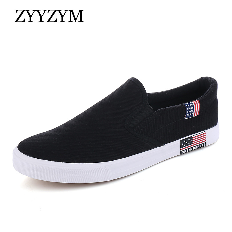 ZYYZYM Canvas Men Shoes Slip-On Unisex Style Breathable Top Fashion Cloth Youth Loafers Male Shoes Large size