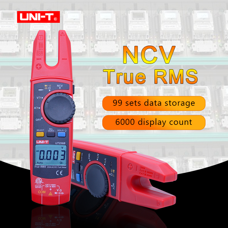 UNI-T Digital Fork Type Clamp Meter UT256B True RMS Auto Multimeter 200A AC DC Current Clamp Meters NCV Tester Voltmeter Ohm uni t ut256b true rms digital clamp meter multimeter fork meter ac dc volotage current resistance capacitance ncv test backlight