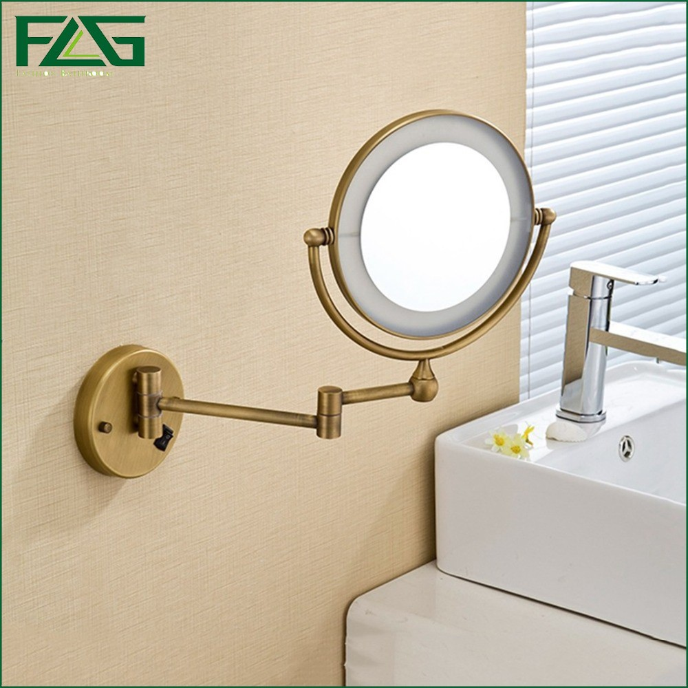 Antique Brass LED Light Makeup Mirrors 8Round Dual Sides 3X /1X Mirrors Bathroom Cosmetic Mirror Wall Mount Magnifying Mirror