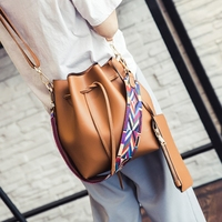 Women S Colorful Strap Bucket Bags Purse 2017 Fashion String PU Leather Crossbody Shoulder Bags High