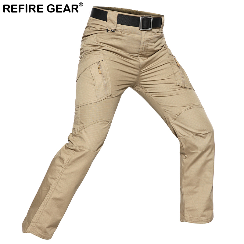 ReFire Gear Outdoor Hiking Pants Men Hunting Tactical Army Military Cargo Pant Elastic Waterproof Airsoft Camo