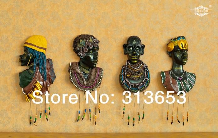 new arrival 3D African exotic resin painted portraits Wall ...