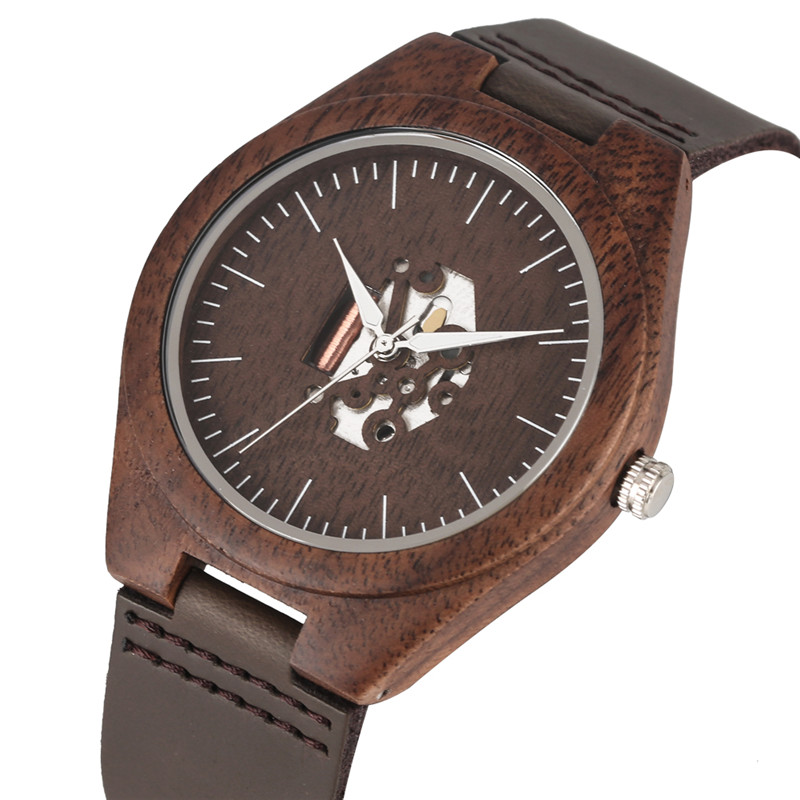 Lover's Wooden Watch Quartz Leather Band Handmade Walnut Wood Watches Hollow Dial Valentine's Day Lover Gift Reloj Para Parej
