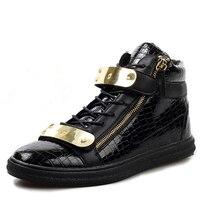 Shiny Gold Punk Rock Shoes For Men Pu Leather Side Zipper Fur Winter Fur Hip Hop Plush Casual Flat Zapatillas Deportivas Hombre