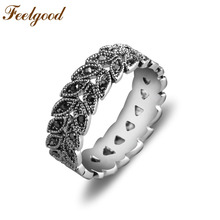 Antique Jewelry Hight Quality Retro Vintage Jet Black CZ Stone Silver Plated Joint Rings For Women