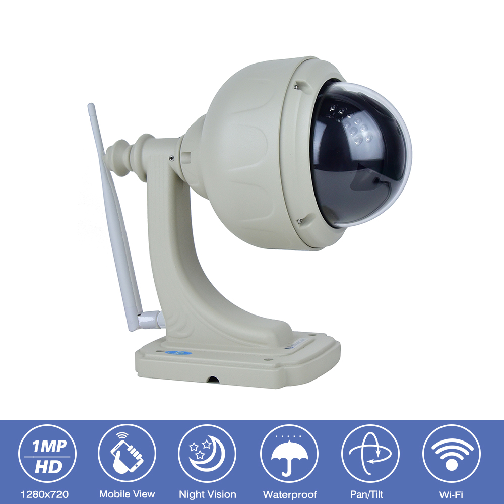 Outdoor IP66 Waterproof Network Wireless WiFi Camera 1MP HD-720P IP Camera ONVIF Pan/Tilt Night Vision CCTV Security Dome Camera h 264 1mp hd 720p ip camera poe outdoor ip66 network 1280 720 bullet security cctv camera p2p onvif night vision 40m ip camera