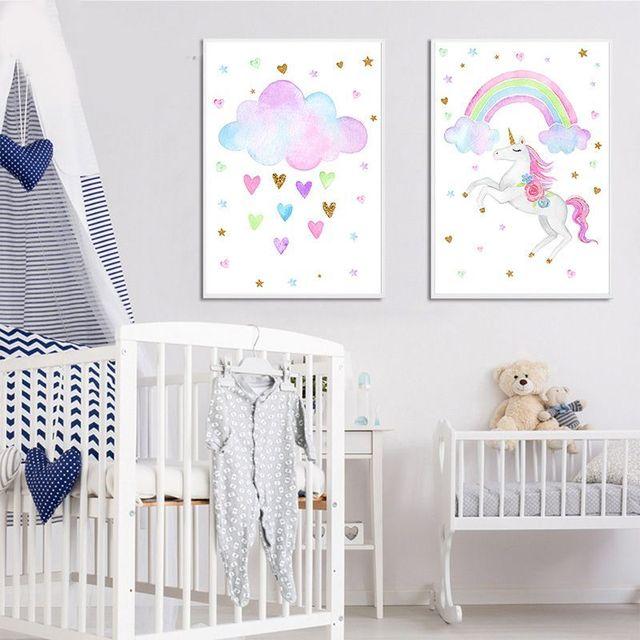 Super Cute Prints Ranbow Unicorn Nursery Wall Art Canvas Poster