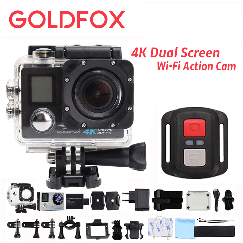 Goldfox 4K Wifi Action Camera 1080P Full HD Dual Screen Outdoor Sport Dv 30M Go Waterproof Pro Bike Helmet Remote Control Cam soocoo s100 pro 4k wifi action video camera 2 0 touch screen voice control remote gyro waterproof 30m 1080p full hd sport dv