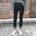 Esticar As Mulheres mola calças de Brim Das Mulheres Calças Skinny de Cintura Alta Das calças de Brim Elásticas Outono Regular Mulheres Calças de Brim Das Mulheres Negras