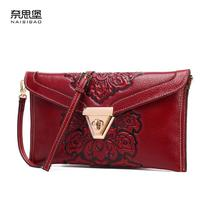 NAISIBAO 2016 New Genuine Leather Women Bag Fashion Chinese Style Embossing Women Clutch Bag Quality Cowhide