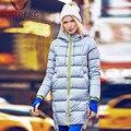 BOSIDENG mujeres escudo pato abajo abrigo de invierno chaqueta larga con capucha outwear sombrero chica abrigo de entrenamiento de draw-string B1601192