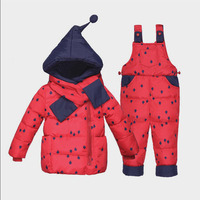 BibiCola 2018 winter baby girls clothing sets toddler bebe girls hooded thermal thick down coat+overalls girls snow suit