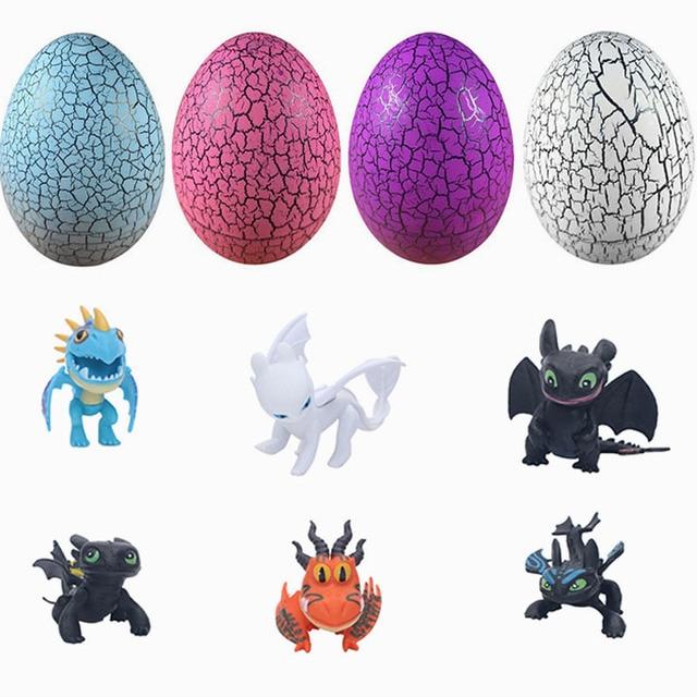 6 pçs/lote Como treinar O Seu Dragão ovo Aleatório Luz de Aniversário Das Crianças Brinquedos Action figure o Hiccup Desdentado Fúria Dragão Branco presente