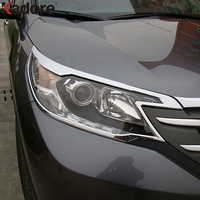 For CRV 2012 2013 2014 ABS Chrome Front Head Light Lamps Covers Trim Headlight Decoration Hood 2pcs Car Styling