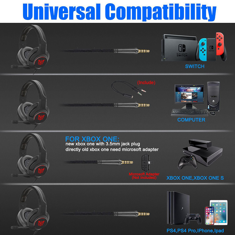 ONIKUMA Gaming Headphones casque Wired PC Gamer Stereo Earphones Headset for Laptop PS4Xbox One with Microphone Breathing Light (5)