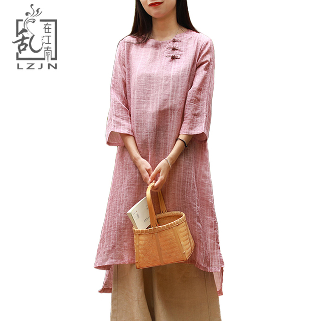 f368619482 LZJN Deep Pink Long Tunic Tops for Women Trend 2019 Summer Top 3/4 Sleeve