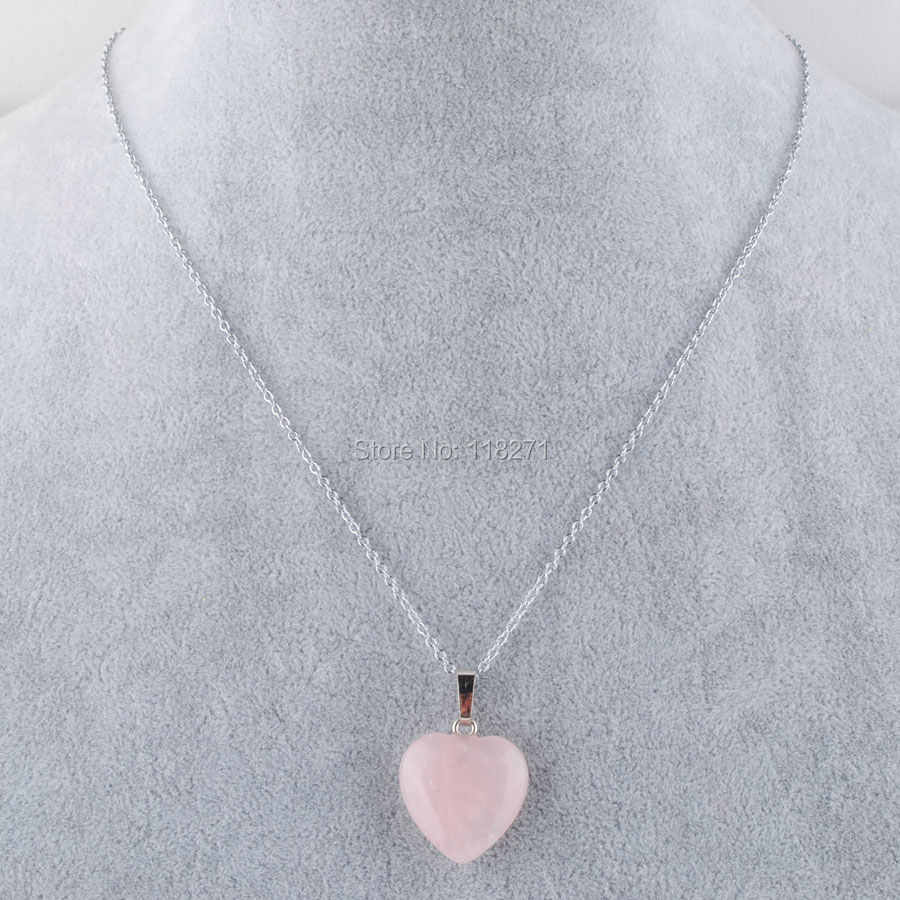 WOJIAER Rose Quartzs อัญมณีหินลูกปัดเงินหัวใจ Reiki Chakra สร้อยคอจี้ 18 นิ้ว PN3638
