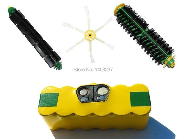 AeroVac Battery 3500mAh 14.4V NI-MH Bristle Brush Flexible Beater Brush 6-Arm Side Brush For iRobot Roomba 560