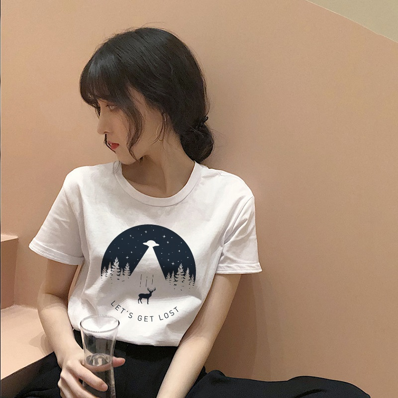 Women's fashion cartoon printed letter short-sleeved casual T-shirt shirt 23
