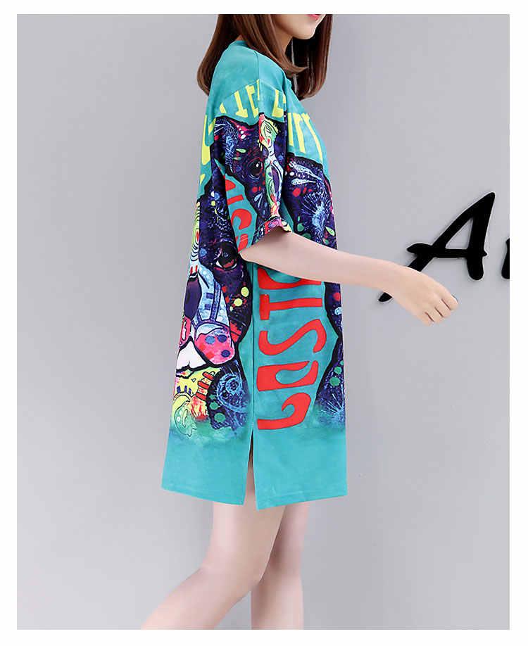 QING MO Impressão T Vestido de Camisa 2019 Verão Animais Camiseta Mulheres Tops Casual Plus Size Vestidos de Algodão de Manga Curta femme QF627