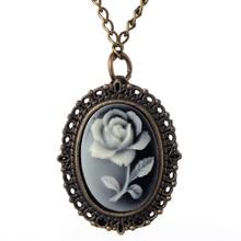 Relogio Retro Bronze Quartz Pocket Watch steampunk Clock Watches with Silver Flower Necklace watches Mens Womens