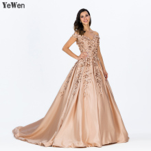 V Neck Off Shoulder Champagne Long Dresses 2019 YeWen