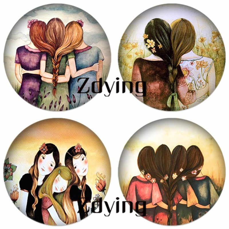 ZDYING Classic Best Sisters Friends Round Glass Art Picture Cabochon Beads Demo Flat Back Making Jewelry Findings K001
