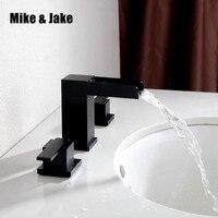 Двойная Ручка площадь ванной черный водопад кран смеситель три отверстия США смеситель горячей и холодной воды мыть кран 00113