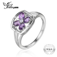 JewelryPalace Flower 0 6ct Oval Natural Purple Amethyst Ring 925 Sterling Silver Genuine Gemstone Jewelry New
