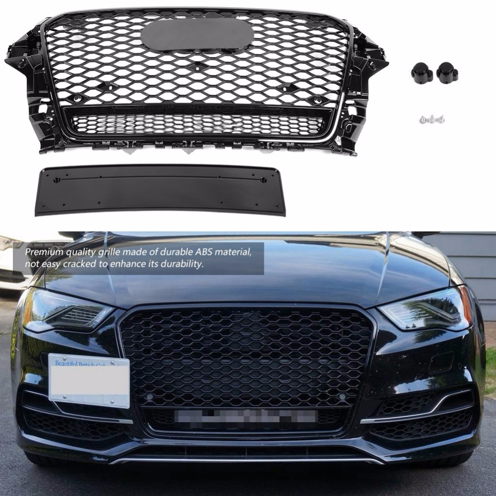 For RS5 Style ABS Front Sport Hex Mesh Honeycomb Hood Grill Gloss Black Universal for Audi A5 S5 B8.5 2013 2014 2015 2016For RS5 Style ABS Front Sport Hex Mesh Honeycomb Hood Grill Gloss Black Universal for Audi A5 S5 B8.5 2013 2014 2015 2016