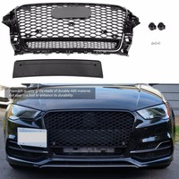For RS5 Style ABS Front Sport Hex Mesh Honeycomb Hood Grill Gloss Black Universal for Audi A5 S5 B8.5 2013 2014 2015 2016