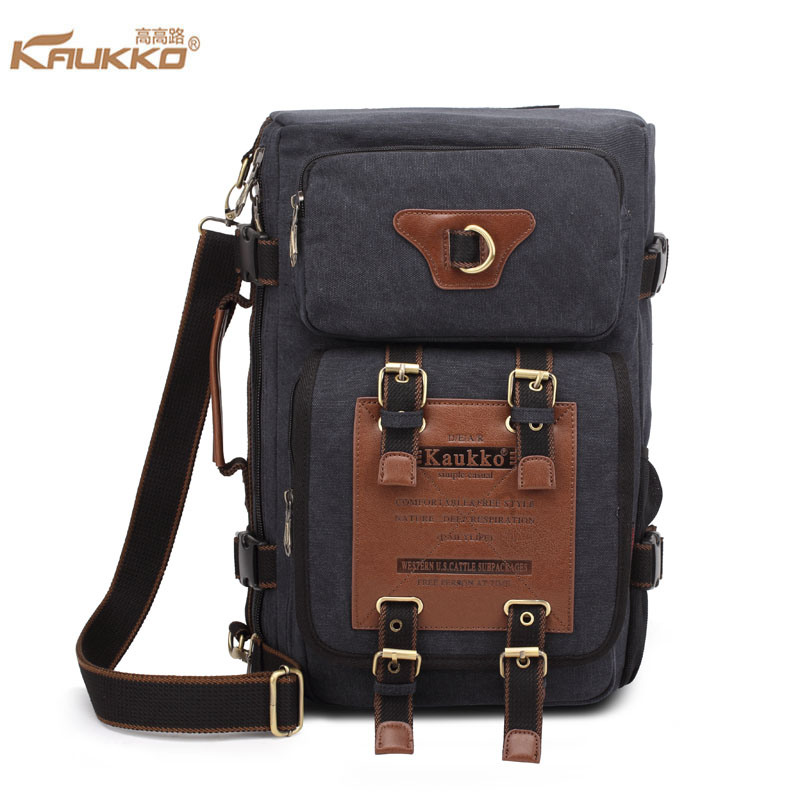 ФОТО KAUKKO Canvas Backpack School Daypack for 13 to 14 inch Laptop Men Travel Rucksack Large Capacity Multifunction Shoulder Bag