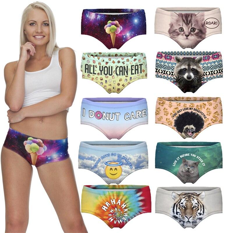 Cat Dog Panda Letter 3D Print Underwear Women female pink Sexy Panties Briefs Panty lingerie Intimates Hot Sale Drop Shipping