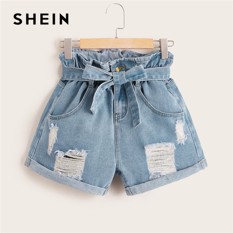 SHEIN Ripped Rolled Hem Denim   Shorts   Women Blue Pocket High Waist   Shorts   Summer Casual Straight Leg Ladies Belted Jean   Shorts