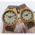 Lovers' Natural Bamboo Wooden Watch With Brown Genuine Leather Strap Wooden Case Japanese Quartz Movement Casual Couple Watches