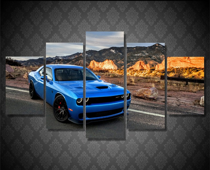 5piece Wall Art Pictures Cuadros Decor Blue Car Posters Abstract Canvas Art Prints Home Decor For