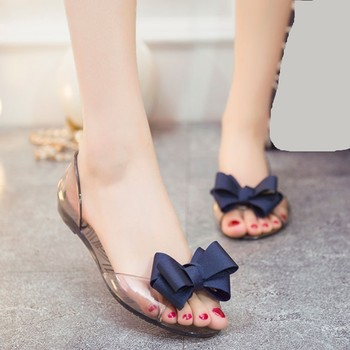 Adult Melissa Woman Flat Shoes 2019 Woman Summer Flat Sandals Transparent Open Toe Jelly Shoes Women Casual Bow Clear Sandals