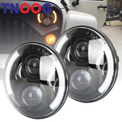 TNOOG 2 шт. 7 дюймов светодиодный фар с Halo Ангельские глазки для Lada 4x4 urban Нива для джип JK Land rover defender Hummer светодиодный налобный фонарь