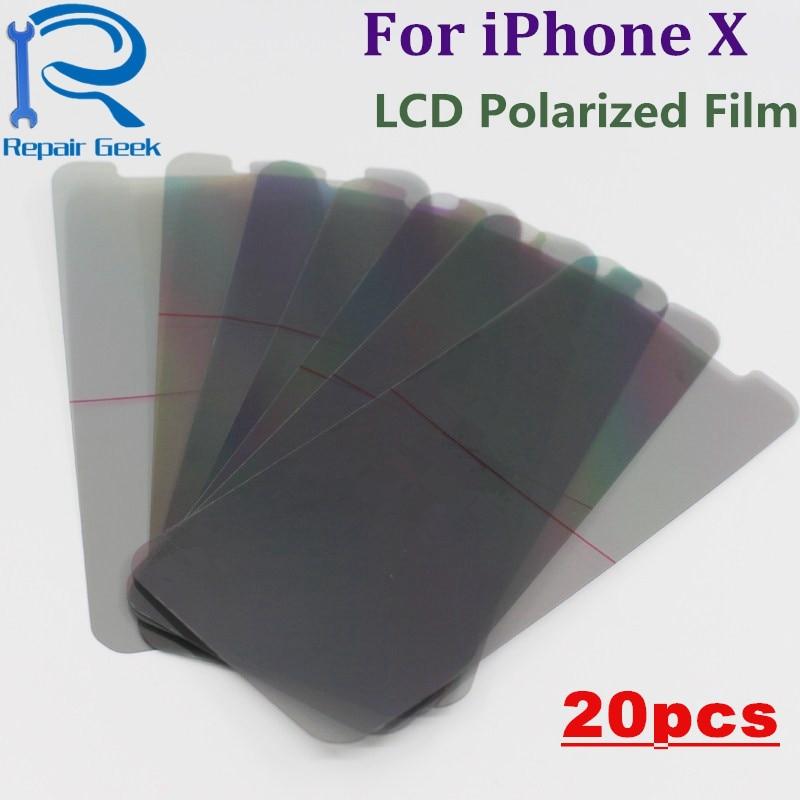 20pcs/Lot LCD Polarizer Polarization Light Film For iPhone X LCD Filter Polarizing Polaroider For IX IPX Replacement Parts