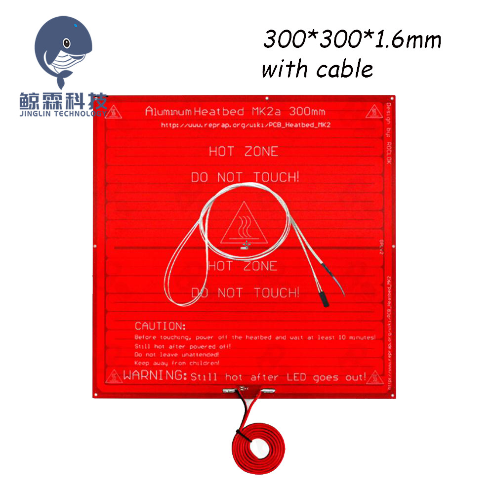 MK2A RepRap RAMPS 1.4 PCB 300*300*1.6mm Heatbed MK2A + LED+Resistor+cable +100k Ohm Thermistors PCB Heat Bed For 3D Printer