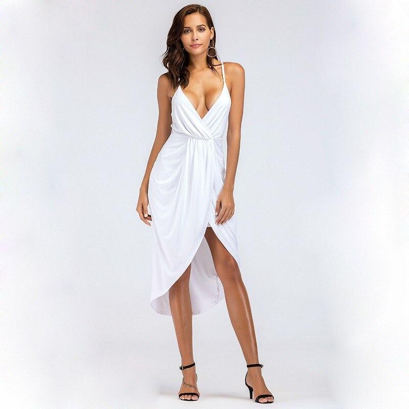 Sexy Backless Women Summer Dress V-neck Spaghetti Strap Women Knee-length Cover ups Beach Dresses