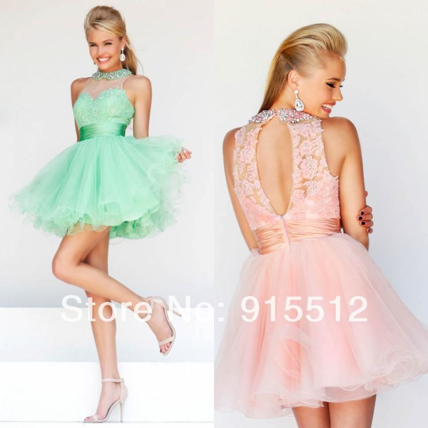 Aliexpress.com : Buy Young Girls Halter Short Cocktail Dress Back ...