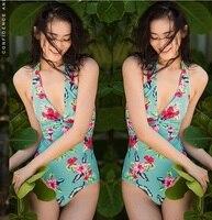 July Sand Floral Print Green V Neck 1 Pc Swimsuit