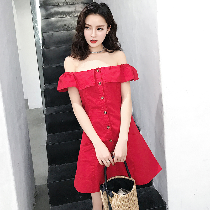 2018 New Summer Women dress Ruffles A Small Word Shoulder S Wind Dresses Red 5551