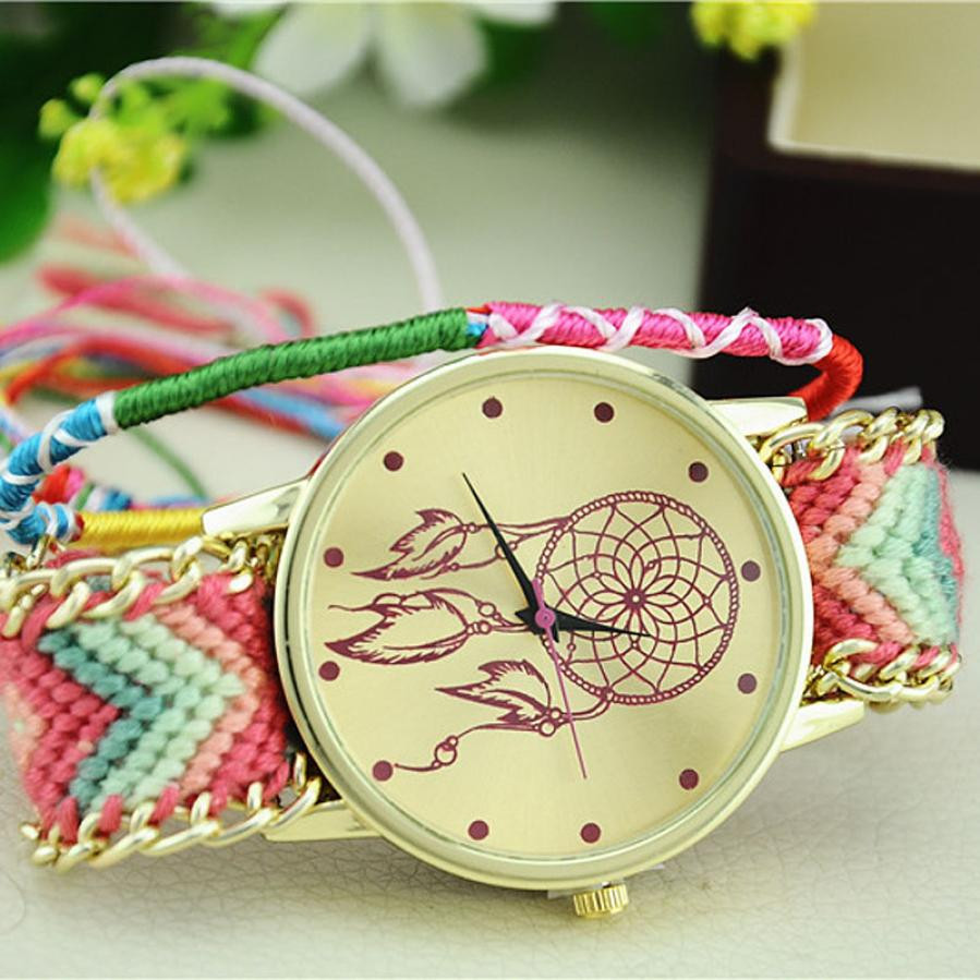 2016 Novel Design New Dreamcatcher Friendship Bracelet Watches Women Braid Dress Watches Relogio Feminino jy19 Dropshipping