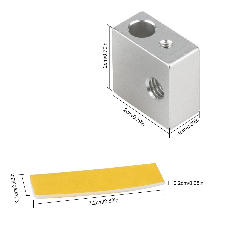5pcs Aluminum Extruder Hotend Nozzle Throat Heater Block With 10pcs 2mm Thick 3D