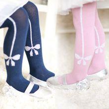 1-6Y Baby Princess Pink Cotton Tights Newborn Girl Bow Stockings Infantil Menina Pantyhose Kids Clothing