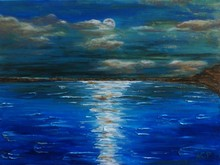 Peaceful Surface of The Lake Under Moon Light-Feel the Wind Skim Over Your Face Handmade Seascape Oil Painting on Canvas Art